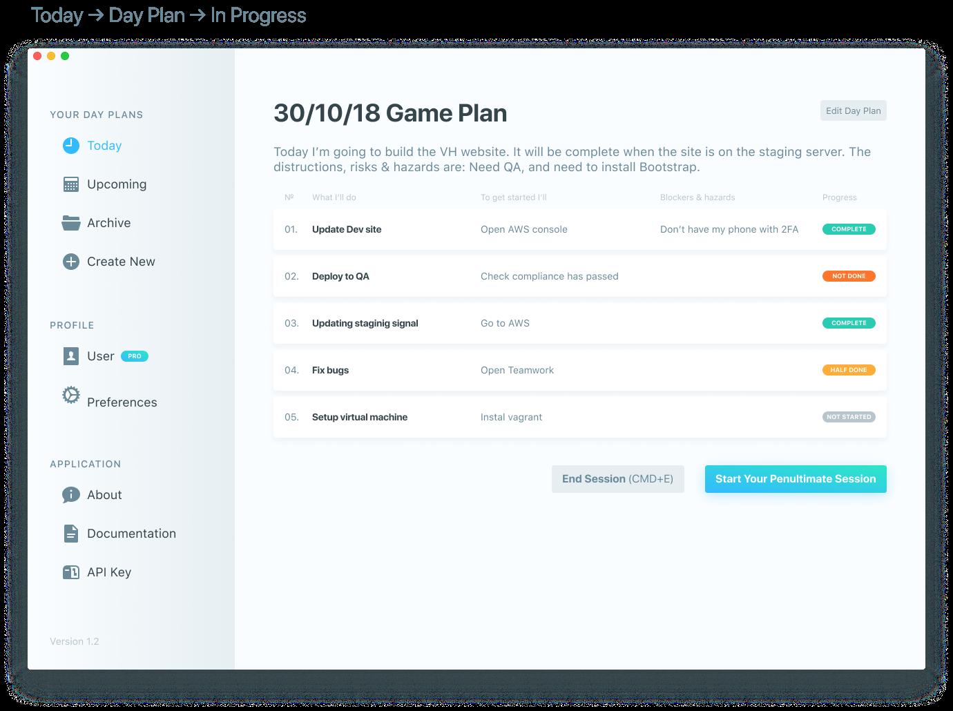 Today-Day Plan-In Progress